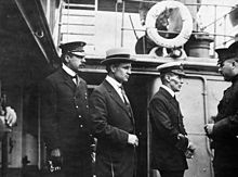 Inspector Reid, H.H. Stevens and Capt Walter Hose onboard the Komagatu Maru